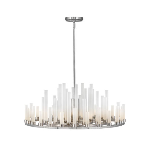 Trinity Polished Nickel LED Chandelier with Frosted Glass