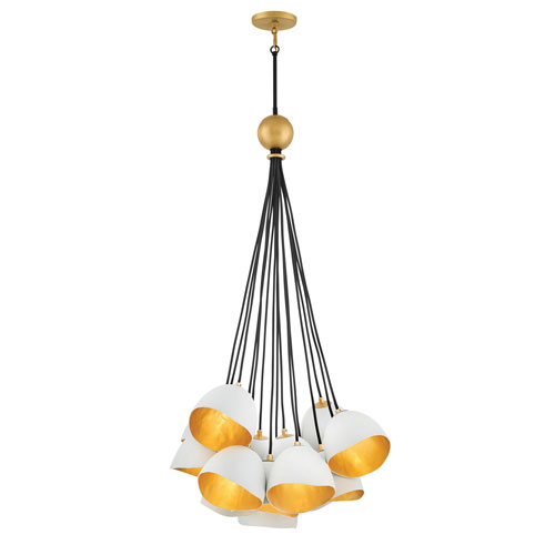 Nula Shell White Fifteen-Light Cluster Pendant