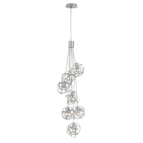 Rumor Polished Nickel Five-Light Cluster Pendant