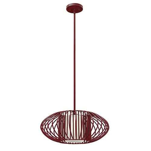 Vibe Crimson One Light Pendant with Etched Opal Glass