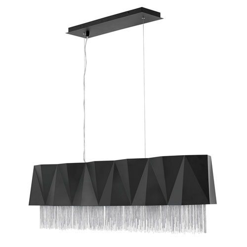 Zuma Satin Black with Silver Chain Five-Light Linear Pendant