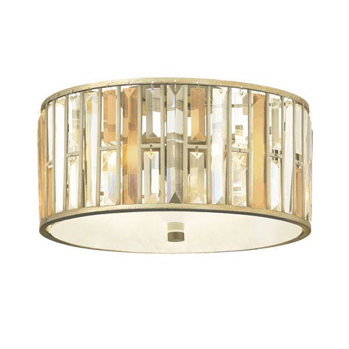 Gemma Silver Leaf 16.5-Inch Three-Light Flush Mount