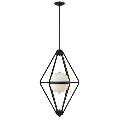 Fredrick Ramond Spectra Black Two Light Foyer Pendant with Etched Opal Glass