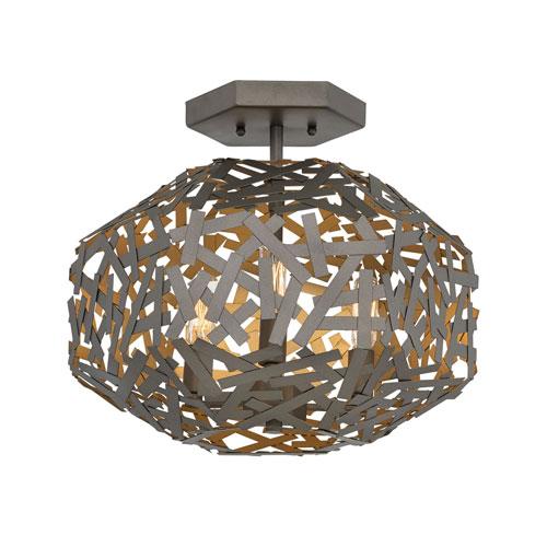 Kestrel Metallic Matte Bronze Three-Light Semi-Flush Mount
