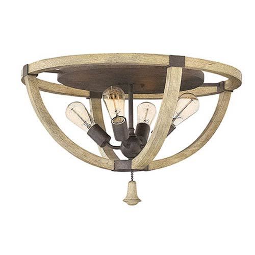 Middlefield Iron Rust Four-Light Flush Mount