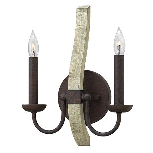 Middlefield Iron Rust Two Light Wall Sconce