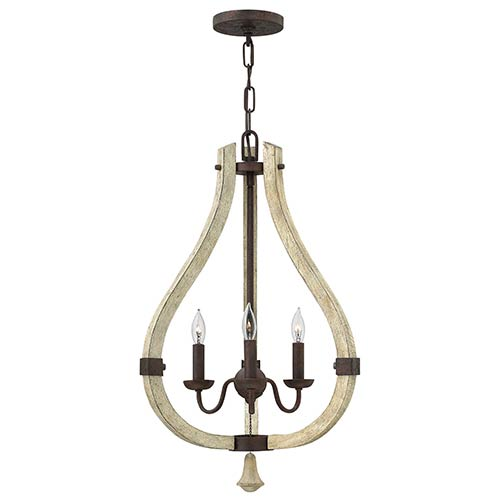 Fredrick Ramond Middlefield Iron Rust Three Light Foyer Pendant