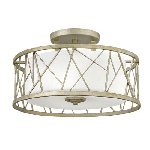 Nest Silver Leaf 20-Inch Three-Light Semi-Flush Mount