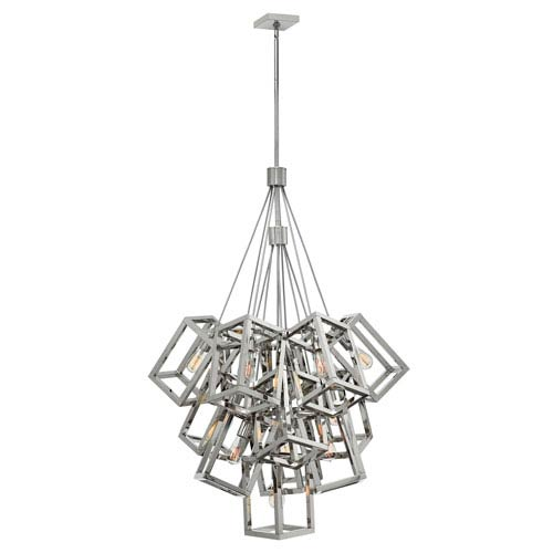 Fredrick Ramond Ensemble Polished Nickel Thir Light Large Foyer Pendant