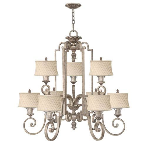 Kingsley Silver Leaf Nine-Light Chandelier