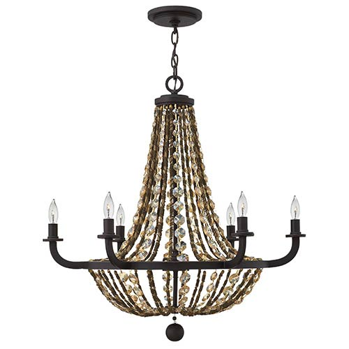Hamlet Vintage Bronze Six Light Chandelier with Hex Crystal Strand