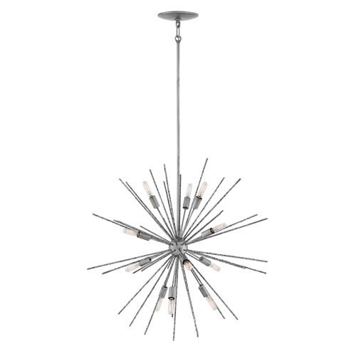 Tryst Burnished Nickel Twelve-Light Stem Hung Pendant