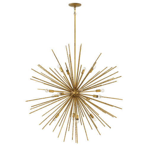 Tryst Burnished Gold Sixteen-Light Stem Hung Pendant