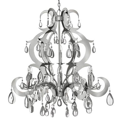 Xanadu Polished Stainless Steel Nine-Light Chandelier