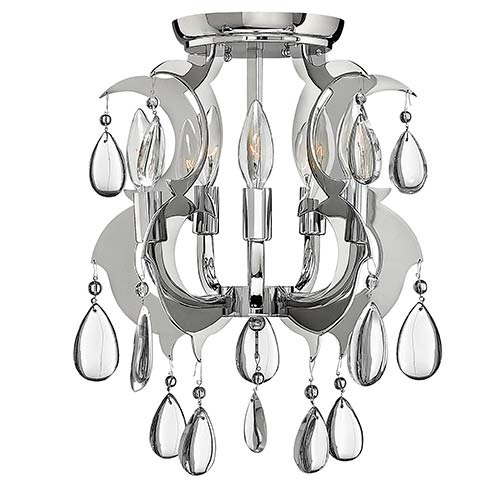 Xanadu Polished Stainless Steel Semi-Flush Ceiling Light