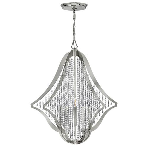 Fredrick Ramond Bijou Polished Nickel Five Light Chandelier with Crystal Strand