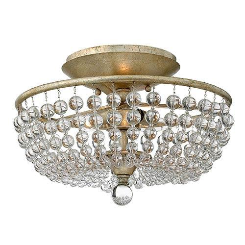 Fredrick Ramond Caspia Silver Leaf Two Light Semi-Flush Foyer with Glass Bead Strand