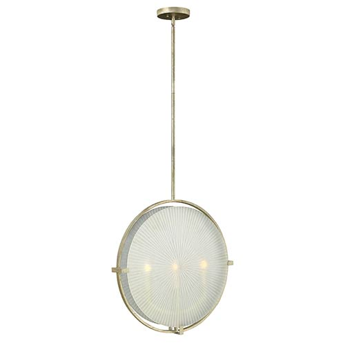 Fredrick Ramond Helios Silver Leaf Three Light Foyer Pendant with Piastra Etched Glass