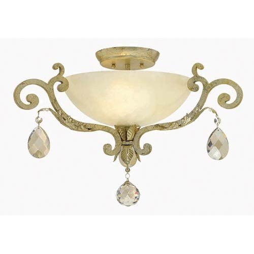 Fredrick Ramond Barcelona Silver Leaf Three Light Semi-Flush Pendant with Natural Alabaster