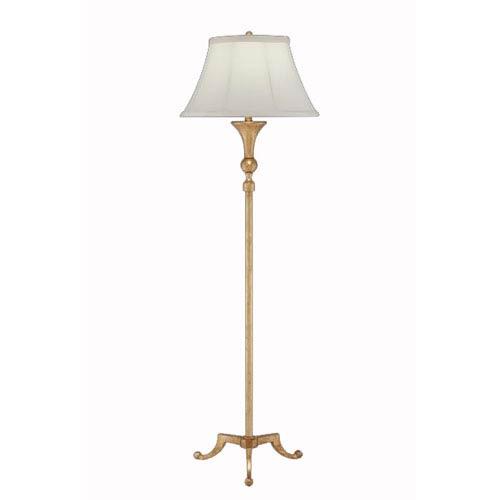 Gilded Iron Floor Lamp w/ Anna Cream Sewn Shade