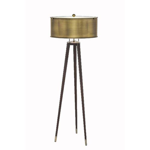 Tri-Pod Mohagany Finish Floor Lamp w/ Antique Bronze Metal Shade and Accents