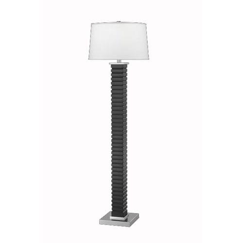 Ebony Wood Column Floor Lamp w/ White Linen Louise Shade