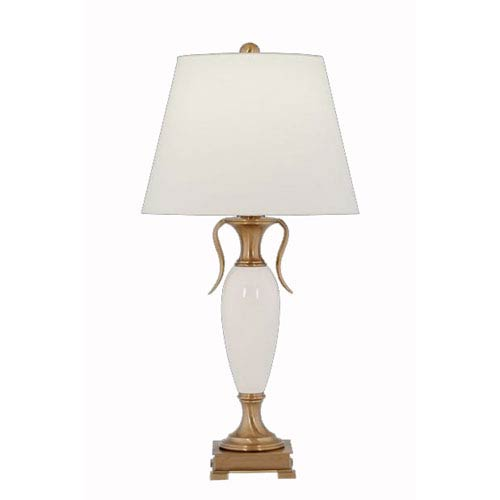 Cream Crackle Porcelain and Antique Brass Table Lamp w/ Anna Cream Rolled Edge Shade