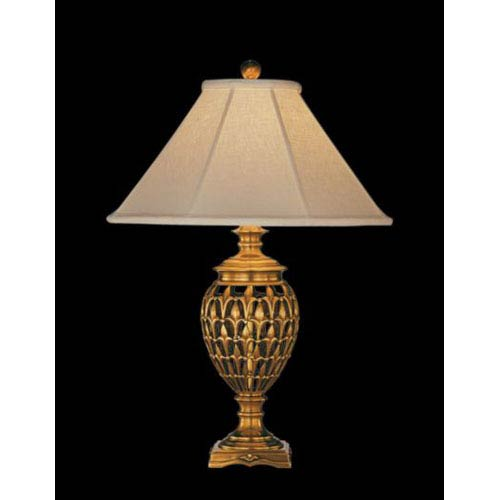 Remington Lamp Antique Brass Table Lamp W Brussels Cream Linen Sewn