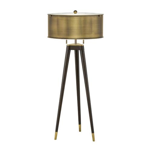 Solid Metal Tri-Pod Table Lamp Finished Like Mahogany Wood w/ Antique Bronze Metal Shade and Accents