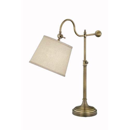 Adjustable Bridge Arm Antique Bronze Table Lamp w/ Putty Linen Shade