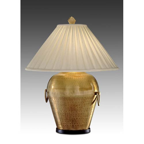 Hammered Brass Antique Finish Table Lamp w/ Ivory Silkura Sewn Shade