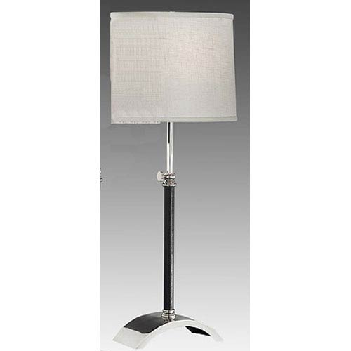 Black Leather and Polished Chrome Table Lamp w/ Brussels Cream Linen Shade