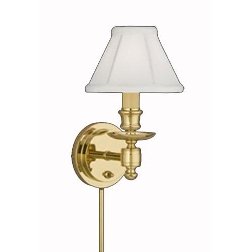 Remington Lamp Polished Brass Wall Sconce w/ White Silkura Sewn Shade