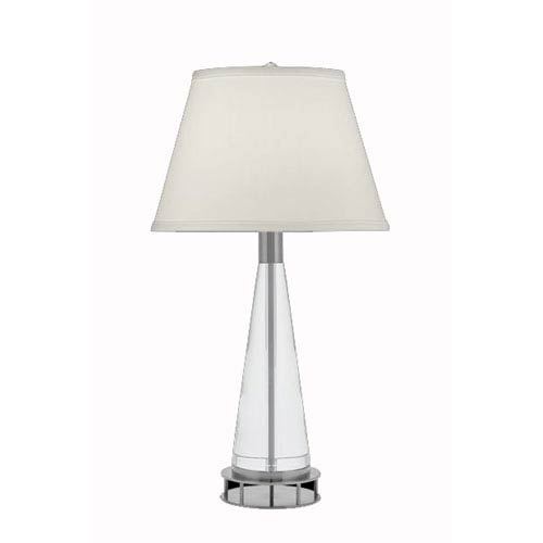 Remington Lamp Lead Crystal and Satin Nickel Table Lamp w/ Anna Cream On Vinyl Shade
