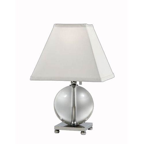 Lead Crystal and Polished Chrome Table Lamp w/ Cream Linen Shade