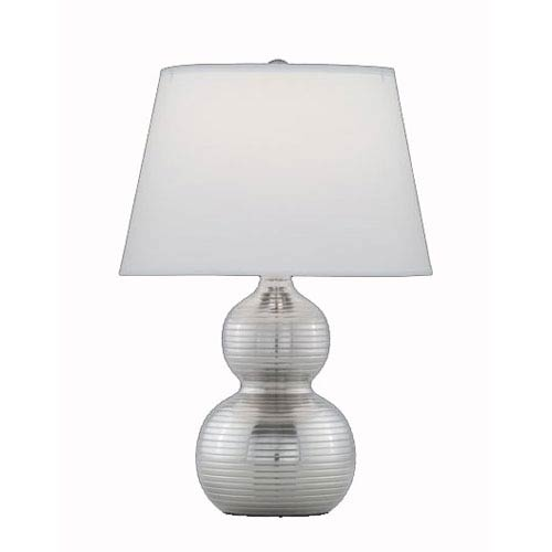 Remington Lamp Ribbed Gourd Satin Nickel Table Lamp W White Onion