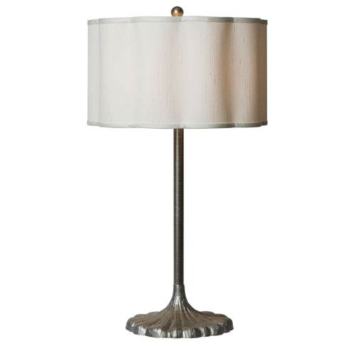 Milano Scalloped Shade Table Lamp with Metallic Pewter Finish