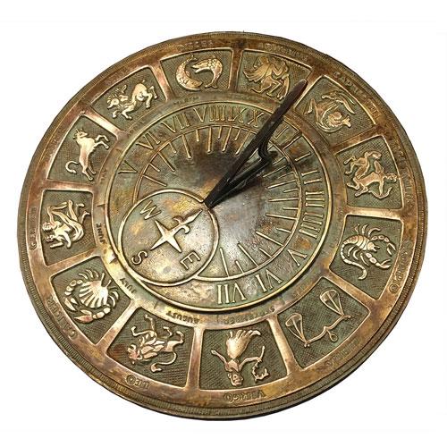 Brass Zodiac Sundial with Patina Highlights