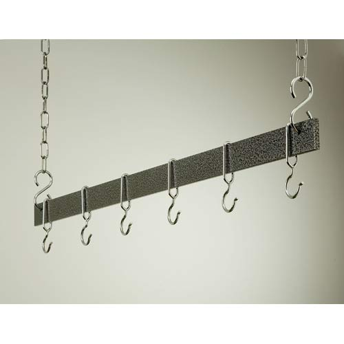 54-Inch Hammered Steel and Chrome Hanging Bar Rack