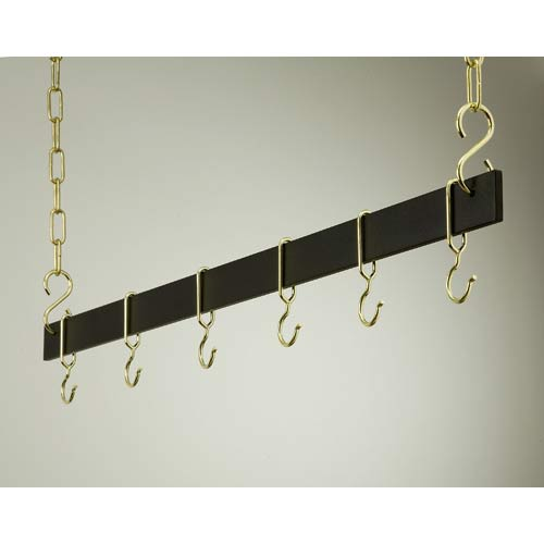 54-Inch Black and Brass Hanging Bar Rack