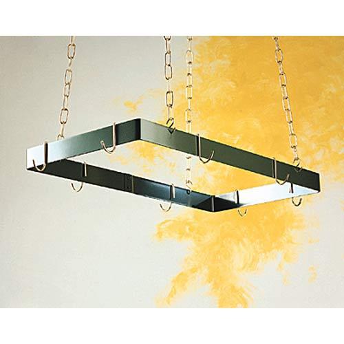Black and Brass Rectangular Hanging Pot Rack