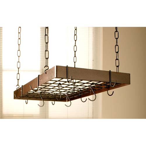 Hammered Copper Rectangular Pot Rack with Black Accents