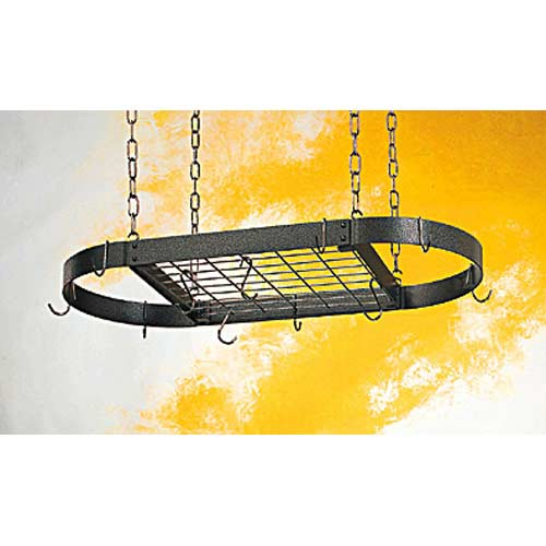 Gourmet Collection Oval Pot Rack with Grid and Chrome Accents