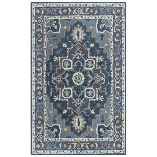 Conley Gray and Blue Tufted Rug
