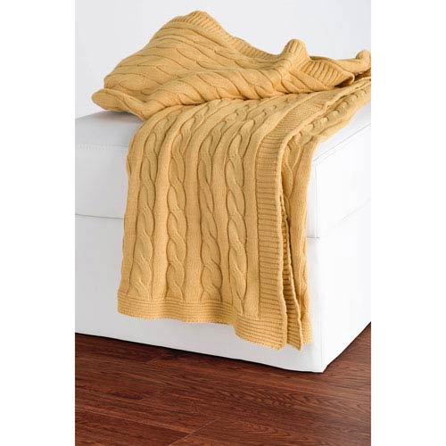 Knit Yellow Throw
