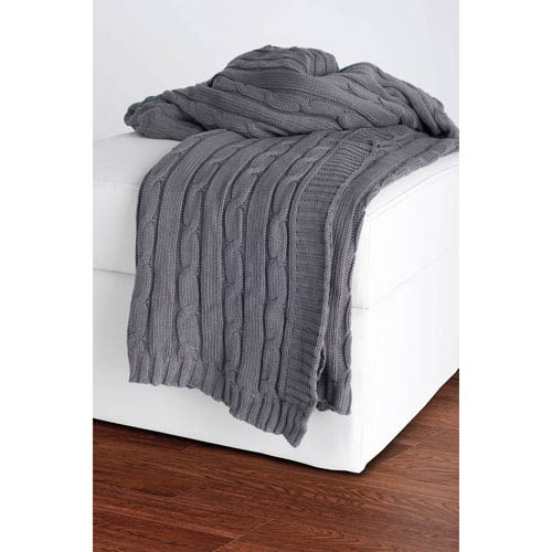 Knit Light Grey Throw