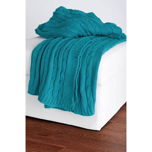 Knit Turquoise Throw