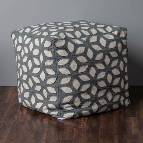 Oval Whirl Off White Pouf