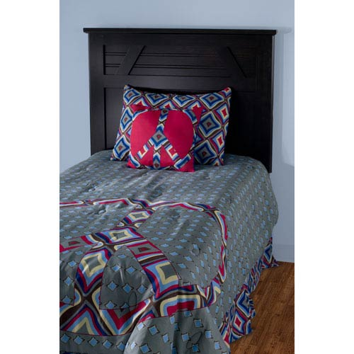 Laura Fair Peace Grey Three-Piece Twin Comforter Set
