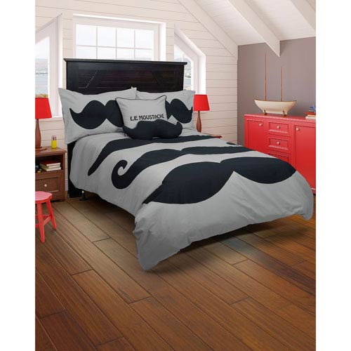 Le Moustache Grey Two-Piece Twin Comforter Set